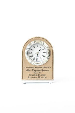 Light Brown Leatherette Clock