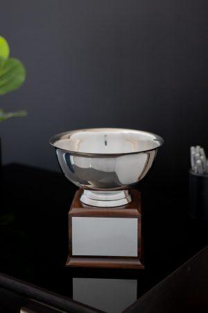 Silver Bowl on Wood Base