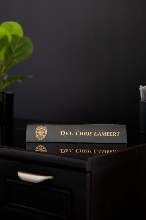 Black Marble Desk Wedge with Card Slot