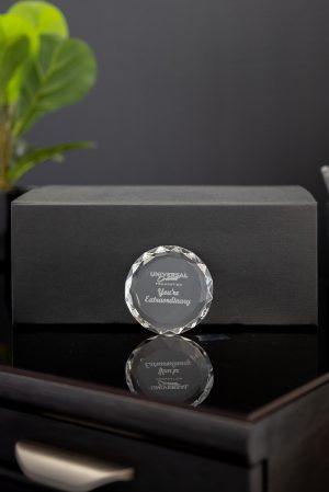 Multifaceted Crystal Round Paperweight