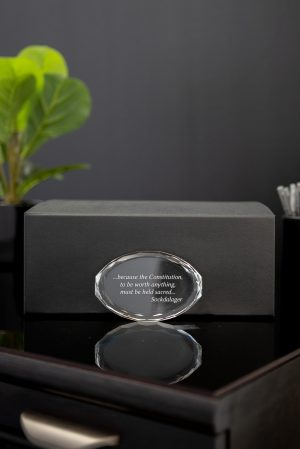 Multifaceted Crystal Oval Paperweight