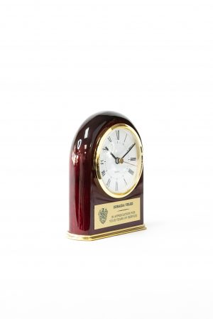 Piano Wood Arched Clock with Brass Base