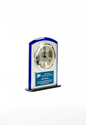 Blue and Silver Arched Clock