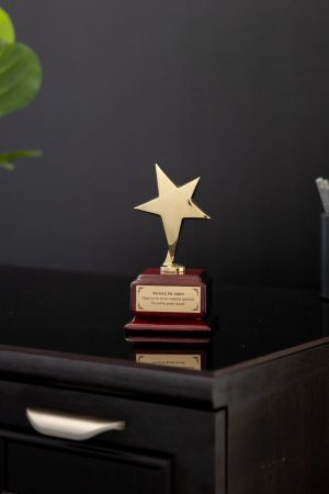 Gold Star on Rosewood Base