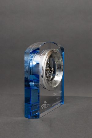 Crystal Clock with Blue Accents