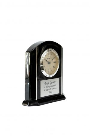 Arched Black Piano Clock with Silver Accents