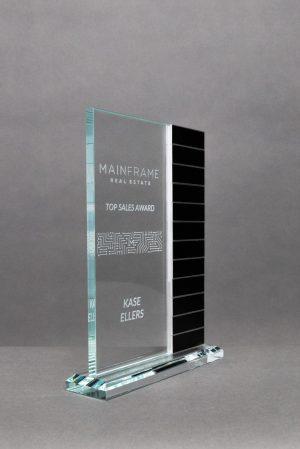 Jade Glass Perpetual Award with 12 Annual Bars