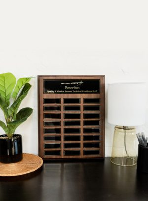 Large Walnut Perpetual Plaque with Magnetic Plates