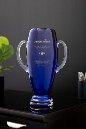 Blue Crystal Vase with Handles