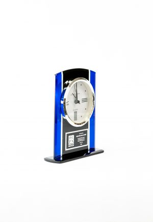 Black and Blue Glass Clock