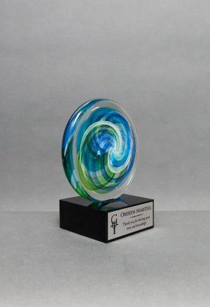Circle Art Glass on Black Base