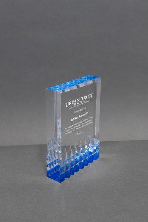 Acrylic Block with Blue Reflective Bottom