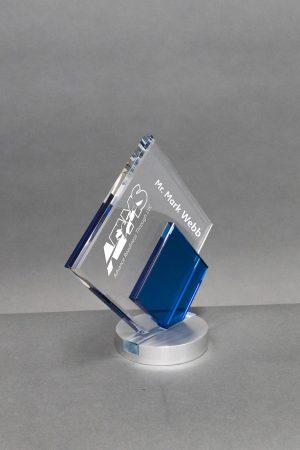 Blue and Clear Crystal Diamond Award