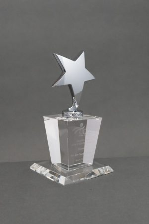 Silver Star on Crystal Base
