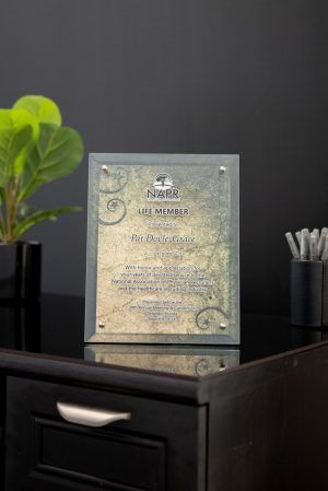 Digital Color Glass Dual Layer Standoff Plaque with Full Color Background
