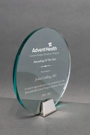 Jade Glass Circle Award on Chrome Base