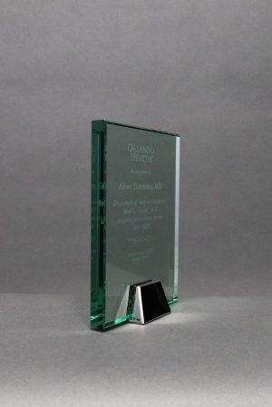 Jade Glass Rectangle on Chrome Base